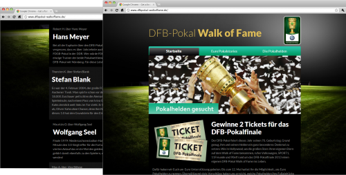 """Diese Seite enthält detaillierte Informationen über das Projekt: DFB Pokal """"Walk of Fame"""""""