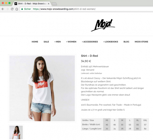 Diese Seite enthält detaillierte Informationen über das Projekt: Neuer Shop-Look für Mojo Snowboarding