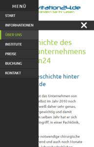 Mobile Ansicht des Off-Canvas Menüs auf kavitation24.de